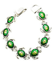 Sea Turtle Fashion Green And Silver Tone Chain Bracelet Magnetic Clasp