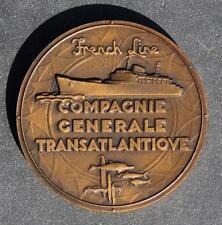 FRENCH LINE CGT SS FLANDRE ART DECO BRONZE MAIDEN VOYAGE STYLE MEDALLION RENARD