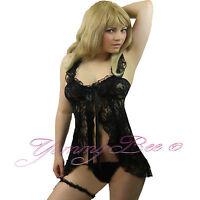Sexy Nightwear Babydoll Dress Womens Plus Size 8-24 Lace Garter String Lingerie