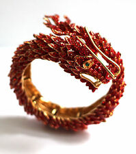 Butler & Wilson Red Crystal Chinese Dragon Wrap Bangle Bracelet NEW