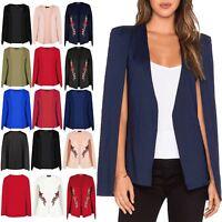 Womens Ladies Shawl Collared Open Placket Blazer Coat Cape Top Plus Size UK 8-22