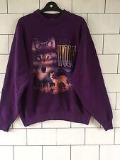 Unisex classico anni'80 Americana Varsity Urban Vintage con Lupo sweater XL #64