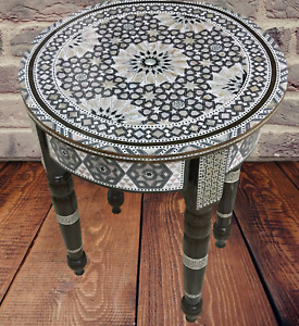 Egyptian Handmade Wood table Board Inlaid Mother of Pearl wooden 40 cm