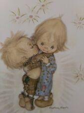 "New listing Vtg Hallmark Betsey Clark Valentine Greeting Card Sweet Boy Kisses Girl ""Wuv You"