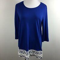 Blair M Medium Knit Top Blue 3/4 Sleeve Scoop Neck Stretch Lace Hem Cotton Blend