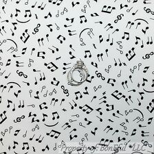 BonEful FABRIC Cotton Quilt White Black B&W Music Note Band Small Girl Boy SCRAP