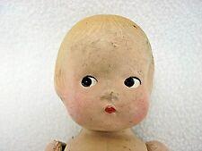 "Vintage Antique 9.5"" Doll Molded Blonde Hair Side Glancing Black Painted Eyes"