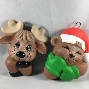 2 Ceramic Christmas Holiday Tree Ornaments Reindeer Bear Cute Brown Red Green