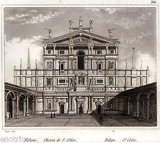 Milano: Chiesa di San Celso. Audot. Acciaio. Stampa Antica + Passepartout. 1840