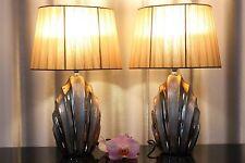 2 Lampen bronze gold Nachttischlampe Leuchte Keramik Tischlampe Tischleuchte