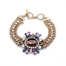 B445 Forever 21 Vintage Purple Gem Gemstone Crystal Bridal Chain Bracelet US