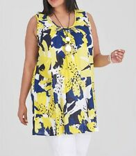 Plus Sizes Sleeveless Bright Yellow & Blue Tunic 100% Cotton Size 18 RRP $89.95