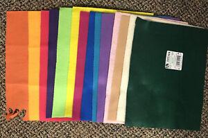 "Classic Felt Squares, 9"" x 12"", Assorted Colors, Lot of 14, Various brands"