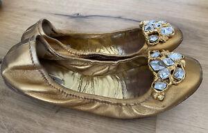 Miu Miu Ballerinas gold Steine Gr. 38 getragen