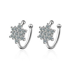 Solid 925 Sterling Silver Crystal Snowflake Ear Clip Cuff Earrings Non Piercing