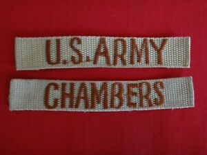 2 Desert Tan Patches: U.S ARMY Pocket Tape + CHAMBERS Name tape