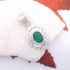 Indischer Smaragd grün oval Antique Design Anhänger Amulett 925 Sterling Silber