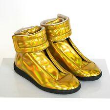 MAISON MARTIN MARGIELA metallic gold shoes high top Future strap sneakers 35 NEW