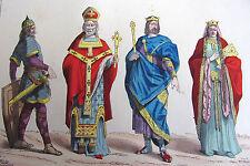 COSTUME DE PARIS gravure coloriée. Guerrier, Eveque, Roi & Reine ( VIe siècle )