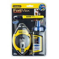 STANLEY FAT MAX 0-47-681 CHALK LINE SET PEN 3 X FAST REWIND 30m 113g blue chalk