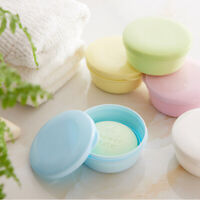 Round Soap Dish Box with Lid Double Layer Seal Storage Holder Bath Draining Home