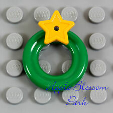 NEW Lego Minifig Tree GREEN WREATH w/Yellow Star Santa Minifigure Christmas Gift