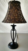 """Desk Table Lamp 20"""" Wrought Iron Metal Black With Gold & Black Shade Vintage"""