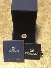 Swarovski Swan Signed Ring Size 52/6 NIB Crystal & Enamel Violet Flower Retired