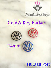 3 x VW Remote Key Fob Badge Emblem Sticker Logo Replacement 14mm red blue black