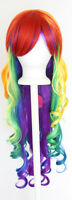 29'' Long Curly w/ Long Bangs Rainbow Cosplay Wig NEW