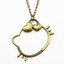 Hello Kitty Necklace Bronze Plate Vintage Long Chain US SELLER Fast Shipping