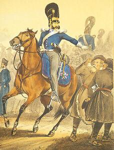 """Antique Russian hand colored military lithograph """"Empire de Russie"""" circa 1840"""