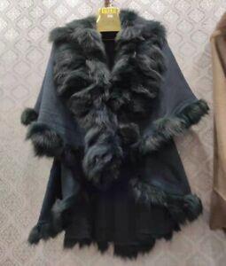Elegant beautiful Ladies Poncho Real Fox Fur Collar Shawl Coat Fur cape