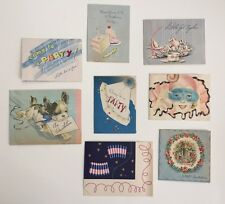 VINTAGE 1940's Party Invitation Greeting Cards Lot of 8 USED