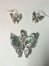 Metal Pendant Necklace Earrings H107Aa Butterfly Silver & Abalone Multi Color