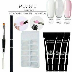 Poly Gel Nail Kit Acrylic Extension UV LED Gel Builder 15ml Nail Art DIY Set uk