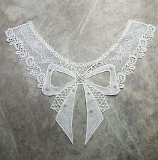 Collar de Cuello Blanco Bordado Encaje Arco 30x40CM Artesanía Coser En Apliques de perlas