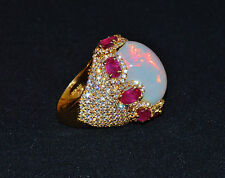 Certified Natural 27.6Cts VS F Diamond Opal Ruby 18K Solid Gold Bombay Dome Ring