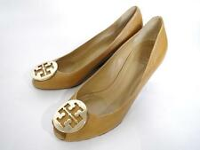 Tory Burch Sally 2 Peep Toe Leather Wedge Pump Size 10 Tan/Gold
