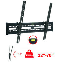 Flat TV Wall Mount Bracket 15° Tilt Swivel For 32 37 42 47 50 55 60 65 70 inch