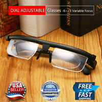 Dial Adjustable Glasses Variable Focus For Reading Distance Vision Eyeglasses US