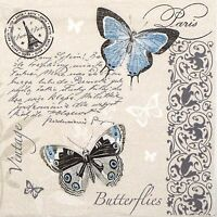 4x Paper Napkins for Decoupage Decopatch Craft Butterflies Postcard