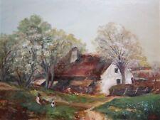 Vintage European Impressionist Oil -Summer Rural Cottage/Farm Landscape