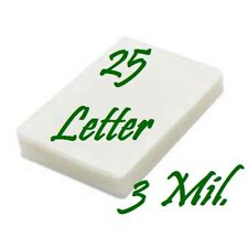 25 Letter 3 Mil Laminating Pouches Laminator Sheets 9 x 11-1/2 Scotch Quality