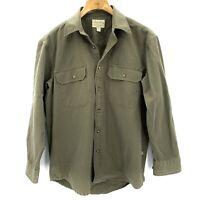 Cabela's Men's Olive Green Long Sleeve Button Up Heavy Duty Work Shirt Sz Medium