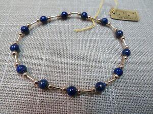 "14k Gold Beaded Bracelet W/ Lapis 7.5"" Stretch 3mm Gold Beads"