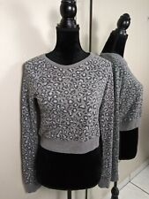 Abercrombie & Fitch Animal Print Long Sleeve Thin Sweater Top size XS Gray