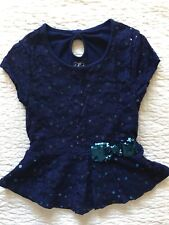 Justice Girls Top Shirt Short sleeve Laced Sequenced Navy Blue Size 7 EUC