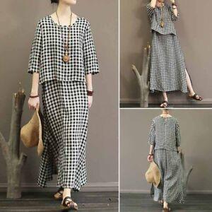 ZANZEA Women 3/4 Sleeve Split Check Plaid Buttons Long Dress Kaftan Maxi Dresses