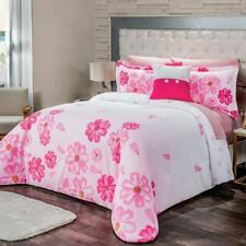 Pink flowers Comforter Reversible set Twin Size Perfect Gift and Decoration